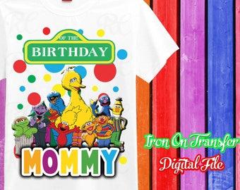 MOMMY, Sesame Street Iron On Transfer, Iron On Sesame Street Birthday Shirt, Digital File, Instant Download