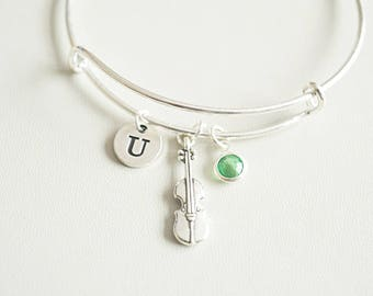 Violin Bracelet, Violin Gift, Violin Jewelry, Gift for Violinist, Violinist Birthday gift, Violin Bangle, Violin Player , Personalized gift