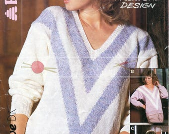 Lady's V-Neck Sweater 32-40in DK Patons 8047 Vintage Knitting Pattern PDF instant download