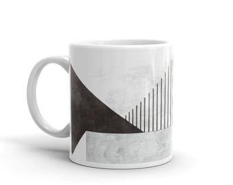 Architectural Mug, tasse Design Minimal, Architecture Mug imprimé, noir blanc gris Mug, Mug rayé, moderne Mug, Mug graphique