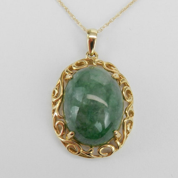 "Decorative Jade Pendant Necklace 14K Yellow Gold 18"" Chain Healing Gemstone"