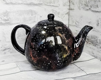 Galaxy teapot, tea pot, space tea kettle, universe and stars, unique gift present, weird and wonderful, afternoon tea, hand painted ceramic