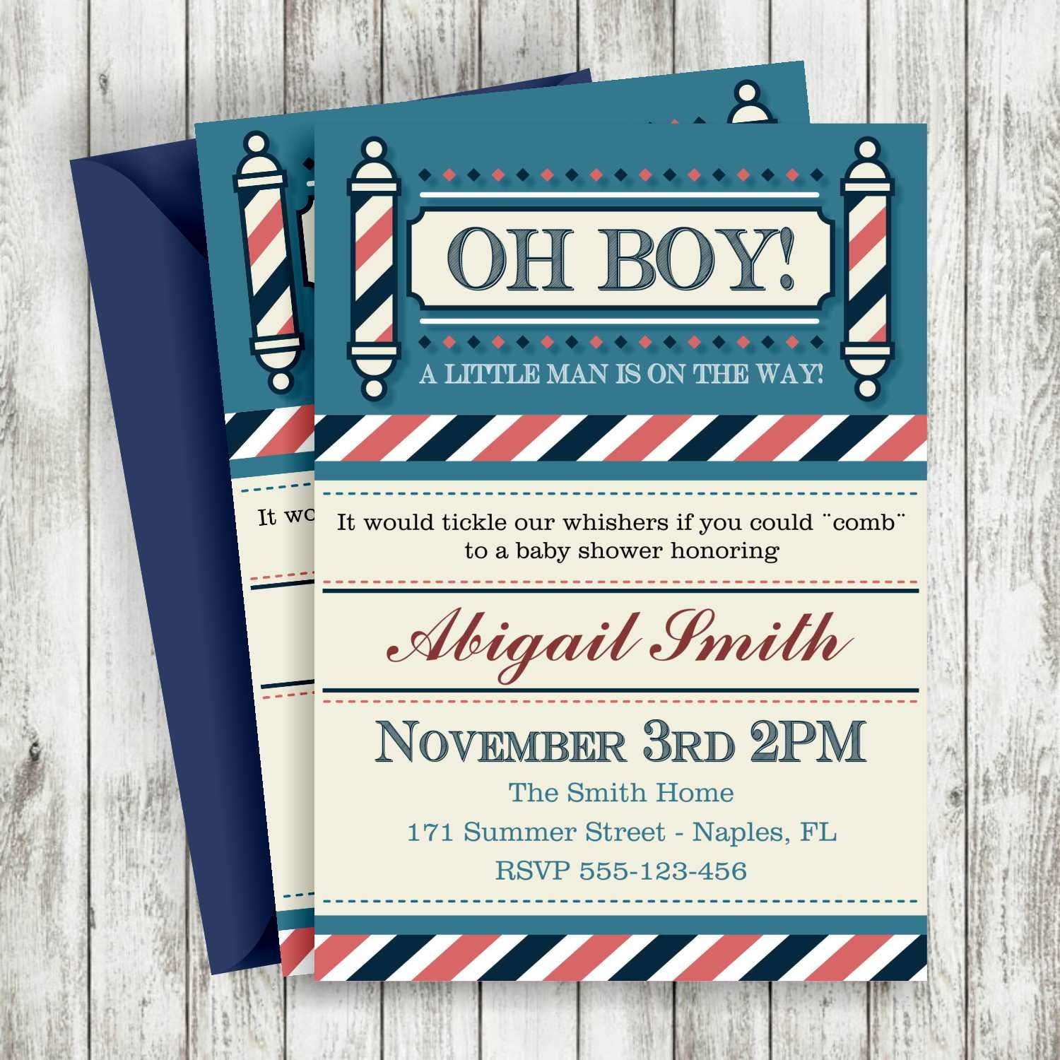 Little Man Baby Shower Boy Invitation Baby Shower Invitation