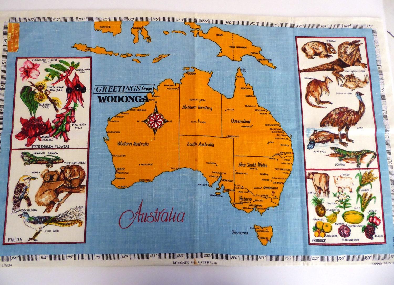 Vintage Linen Tea Towel Souvenir From Australia And Wodonga