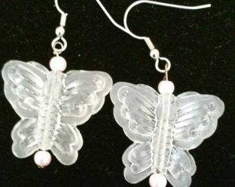 butterfly clear glass bead dangle earrings