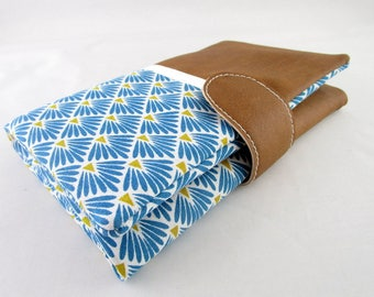 Wallet all in one faux camel leather effect and fabric blue Peacock feather fan