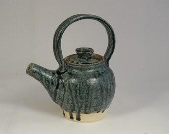 Blue Ash Glaze Pottery Teapot