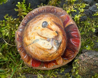 Dormouse painting, original wildlife art, autumn animal, painted wood slice, painting on wood, British wildlife, nature art, miniature art