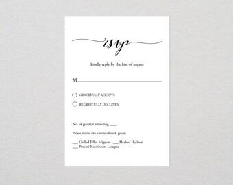 Printable Rsvp Card Etsy - Wedding rsvp cards template