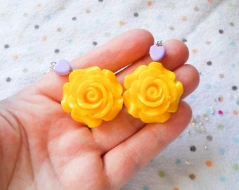 Rose Earrings, Big Flower Earrings, Big Rose Earrings, Flower Earrings, Yellow Rose, Yellow Flower, Earrings, Lolita, Pop Kei, Kawaii