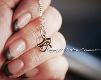 Eye of Horus Necklace - Sterling Silver Eye of Ra Charm - Insurance Included