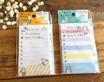 Kawaii Sticky To Do List Post-It / Marker - Gorogoronyansuke Cat at yout choice for journaling, planner techo, packaging
