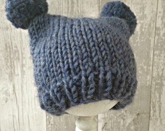 Hand Knit Hat for Boys, Take Home Outfit Baby Boy Hat with Ears, Baby Pom Pom Hat, Newborn Boy Hat, Coming Home Outfit Boy Baby Gift