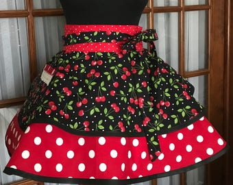 Cherry Apron Cherries Apron Polka Dot Retro Apron Red and Black Gift for Her