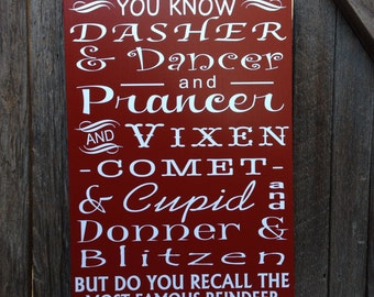 Rudolph The Red Nose Reindeer Christmas Decor Holiday Sign Christmas Song Lyrics Santa Reindeer Names on Wood Sign 12x20""