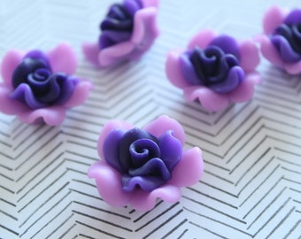 Purple Flower Beads - Clay - 25x14mm - 5pcs - Ships IMMEDIATELY  from California - C55