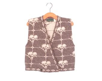 vintage sweater vest * cropped cardigan sweater shell * wool vest * m / l