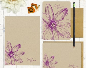 complete personalized stationery set - DAISY FLOWER BLOOM - personalized kraft stationary - folded note cards - flat cards - floral - flower