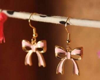 Pink Bow Earrings, Enamel Earrings, Pink Earrings, Gold Earrings, Bows, Ribbons,