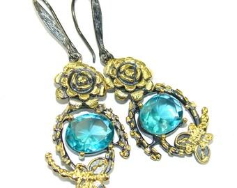 Blue Topaz Sterling Silver Earrings - weight 13.50g - dim L -2 1 4, W - 5 8, T -1 4 inch - code 19-kwi-16-64