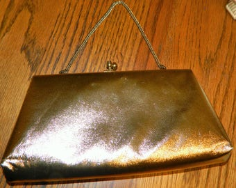 An Elegant Gold Vintage Evening Bag or Purse~Clutch w/ a Faux Leather Outside~Gorgeous Bag is Holiday Ready~w/ a Small Chain & Nylon Lining