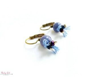 Blue, boho chic, elegant earrings