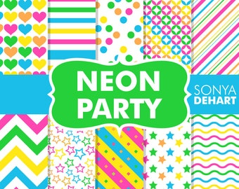 Neon digital paper, digital paper, scrapbook paper, digital paper pack, bright digital paper, digital papers, neon paper, neon background