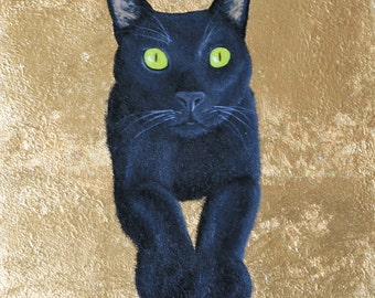Custom Pet Portrait, Gold Leaf, Personalized Cat Memorial Painting, Birthday Gift For Him Her Mom Dad Husband Wife Parents Christmas Holiday