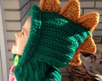 Dinosaur Winter Hat dinosaur Hoodie dinosaur Cowl Animal Hat child cowl Hooded Scarf Crochet Hoodie Chunky Crochet Hat animal