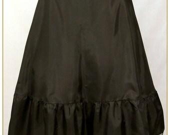 "Black Victorian Petticoat, Xlarge Adjustable Waist Sizes 36""-49"""
