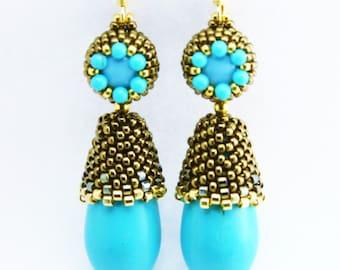 Turquoise Drop Beaded Earrings Tutorial with Seed Beads, Swarovski Crystal Pearls, Earring Pattern by Ezartesa