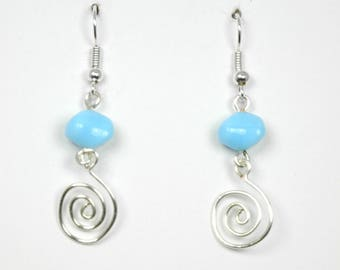 Sky Blue Glass with Silver Wirework Earrings
