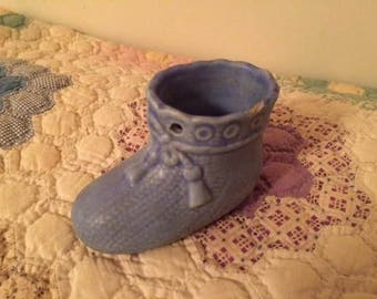 Small Vintage Blue Baby Bootie Shoe Planter