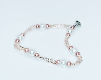 Pink and Pearl Double Strand Bracelet