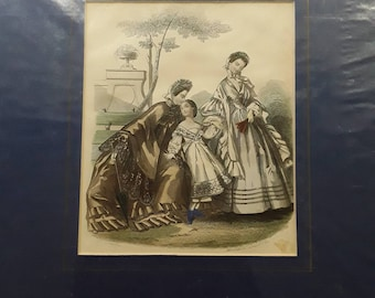 Vintage hand coloured lithograph print 1860 by Gilquin