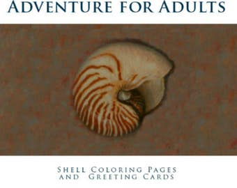 Coloring Book/Shells From the Sea/Adult Coloring/Shell Coloring Pages/Shell Greeting Cards