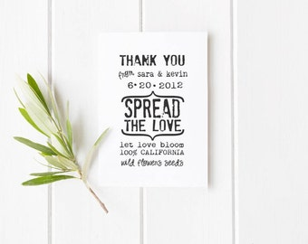 """Let love bloom custom rubber stamp for personalized flower seed wedding favors for 2.5""""x4""""--5565"""
