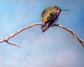 The Lookout Post, Calliope Hummingbird on a branch oil painting by Canadian  Artist, Kindrie Grove.