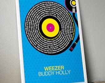 Weezer - Buddy Holly Song Lyrics Wall Art Poster Print.