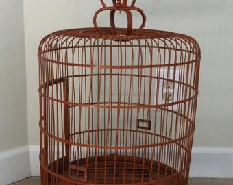 Vintage Rattan Wicker Chinese Birdcage Bird Cage Bird House Boho Bohemian Decor Plant Stand
