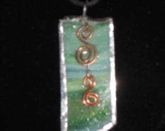 Green Stained Glass and Copper Pendant Necklace
