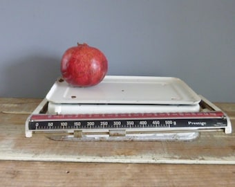 Kitchen scales, vintage scales, white rustic made in germany, Prestige, display only