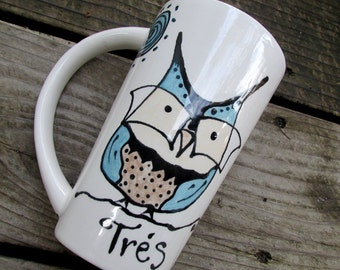 Pottery owl mug bistro latte tall coffee mug tea mug owl in glasses hipster geekery personalize or not
