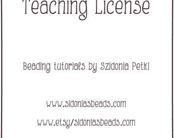 Teaching License / Certificate for teaching Sidonia Petki beadweaving designs and jewelry making tutorials