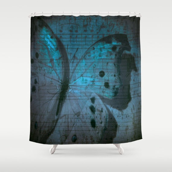 Butterfly Shower Curtain, Nature Bathroom, Modern, Home Decor, Midnight Symphony Photography, Music Notes, Blue Shower Curtain,Blue Interior