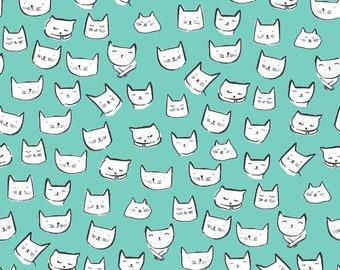 Catitude, Dear Stella Fabrics, Atlantis Cat Heads, Blue Aqua Cats, Fabric by the Yard, ST-1002ATLA