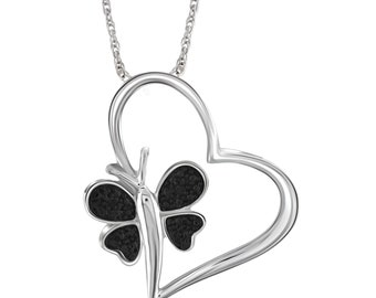 Black Diamond Accent Sterling Silver Heart And Butterfly Pendant