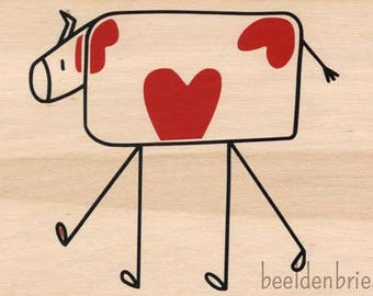 Wood Card Heart Cow