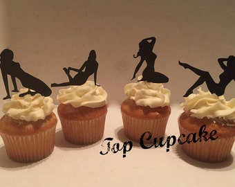 Pin-up Girl Inspired Cupcake Toppers -12
