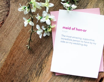 Maid of Honor Definition Card // Thank You for Being My Maid of Honor Wedding Day Card